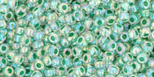 Toho Seed Beads 11/0 Rounds In-Rainbow Crystal/Shamrock Lined