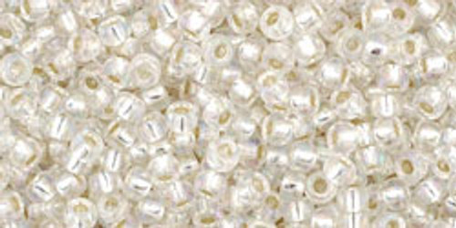 Toho Seed Beads 11/0 Round #242 Silver-Lined Rainbow Crystal 50 gr