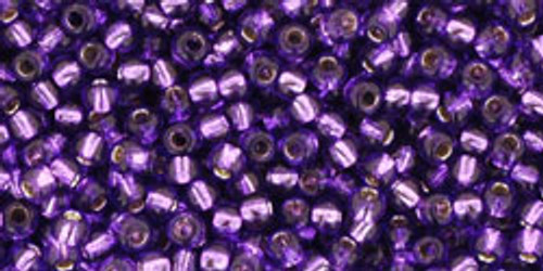 Toho Seed Beads 11/0 Rounds #245 Silver-Lined Purple 50 Grams