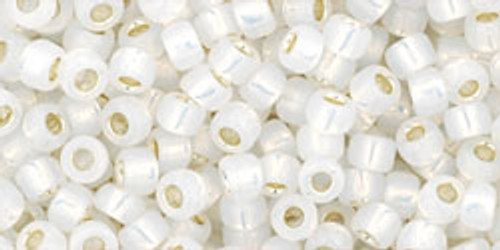 Toho Seed Beads 8/0 Rounds #43 Silver Lined Milky White 20 gram pack