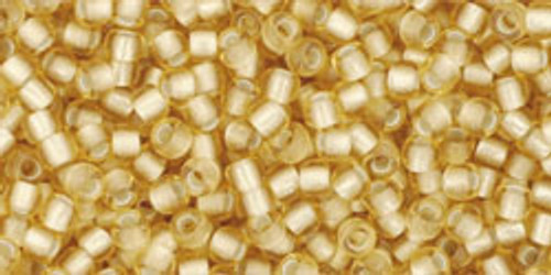 Toho Seed Beads 11/0 Round #261 Silver-Lined Frosted Light Topaz 20g