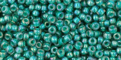 Toho Seed Beads 11/0 Round #268 In-Rainbow Light Sapphire/Opaque Teal Lined 50 gram