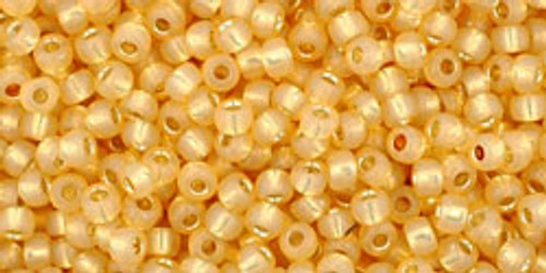 Toho Seed Beads 11/0 Rounds Silver-Lined Milky Light Topaz 8 gram