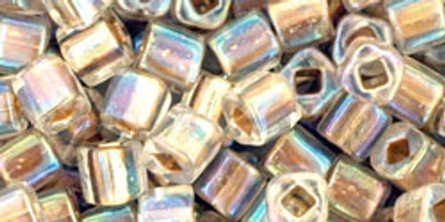 Toho Seed Beads Cubes 4mm Gold-Lined Rainbow Crystal