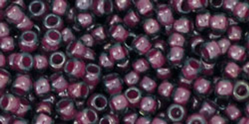 Toho Seed Beads 11/0 Rounds Grey/Magenta Lined