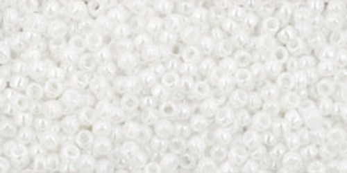 Toho Seed Beads 15/0 Rounds Opaque-Lustered White 9 grams