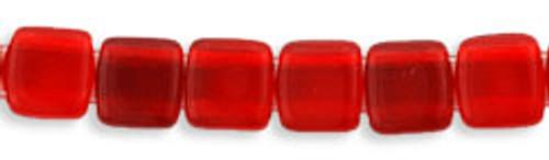 CzechMates 2-Hole 6mm Beads Siam Ruby 25pcs