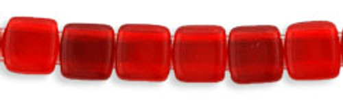 CzechMates 2-Hole 6mm Beads Siam Ruby 50pcs