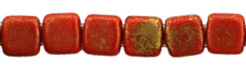 CzechMates 2-Hole 6mm Beads Opaque Red, Marbled Gold 25pcs