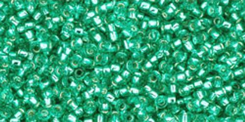 Toho Seed Beads 15/0 Rounds Silver-Lined Dark Peridot