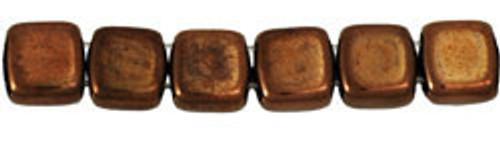 CzechMates 2-Hole 6mm Beads Dark Bronze 25pcs