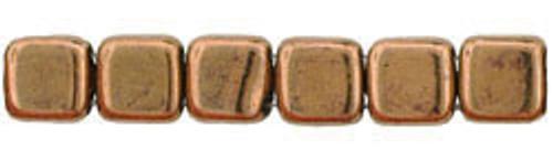 CzechMates 2-Hole 6mm Beads Bronze 50pcs