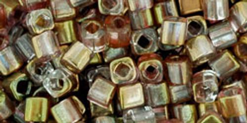 Toho Seed Beads Cubes 3mm HYBRID Lustered-Amethyst/Crystal