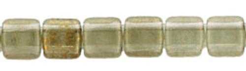 CzechMates 2-Hole 6mm Beads Black Diamond-Gold Marbled 50pcs