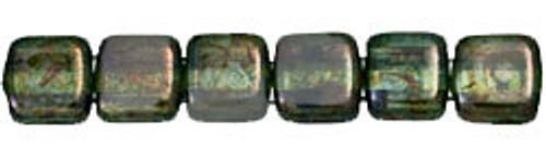 CzechMates 2-Hole 6mm Beads Luster-Transparent Green 25pcs