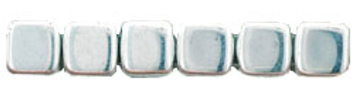 CzechMates 2-Hole 6mm Beads Silver 25pcs