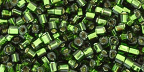 Toho Seed Beads Cubes 1.5mm Silver-Lined Olivine