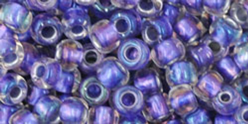 Toho Seed Beads 6/0 Rounds Rainbow Crystal/Metallic Purple Lined 8g