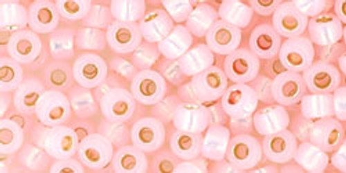 TOHO Seed Beads 8/0 Rounds #90 Permanent Finish Silver-Lined Milky Soft Pink 20 grams