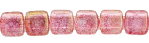 CzechMates 2-Hole 6mm Beads Luster-Transparent Topaz/Pink 25pcs