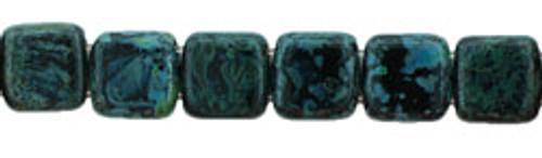 CzechMates 2-Hole 6mm Beads Jet-Picasso 25pcs