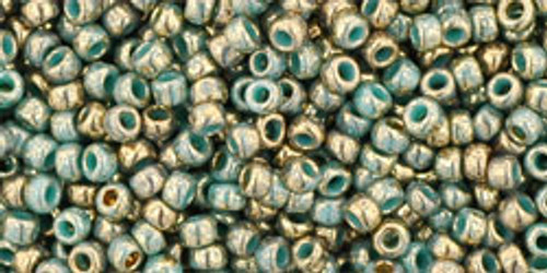 TOHO Seed Beads 11/0 Rounds Gilded Marble Turquoise