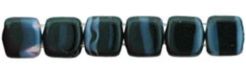 CzechMates 2-Hole 6mm Beads Jet/Grey Stripe 25pcs