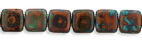 CzechMates 2-Hole 6mm Beads Picasso-Umber 25pcs