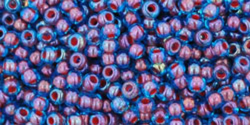 Toho Seed Bead 11/0 Round #296 In-Aqua/Oxblood Lined 20 Grams