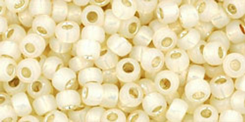 TOHO Seed Beads 8/0 Rounds Silver Lined Milky Light Jonquil 8g tube