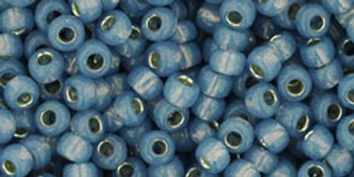 TOHO Seed Beads 8/0 Rounds Silver lined Milky Montana Blue 8 gram