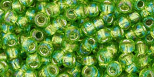 TOHO Seed Beads 8/0 Rounds Silver lined Rainbow Lime Green 8 gram