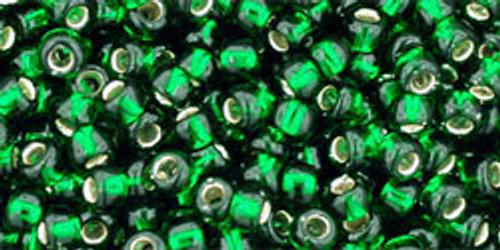 TOHO Seed Beads 8/0 Rounds Silver lined Frosted Green Emerald 8 gr