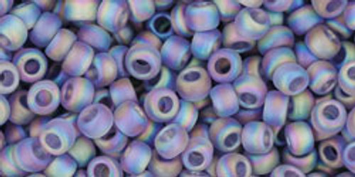 Toho Seed Beads 8/0 Rounds Transparent Rainbow Frosted Light Tanzanite