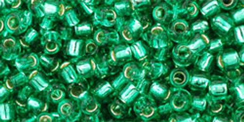 TOHO Seed Beads 8/0 Rounds Silver lined Dark Peridot 8 gram tube