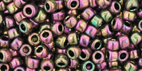 Toho Seed Beads 8/0 Rounds Higher Metallic Purple Green Iris
