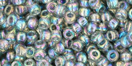 Toho Seed Beads 8/0 Rounds Transparent Rainbow Black Diamond 8 gram