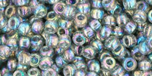 Toho Seed Beads 8/0 Rounds Transparent Rainbow Black Diamond 8 gram