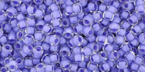 Toho Seed Beads 11/0 Rounds Crystal Neon Purple Lined