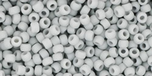 Toho Seed Beads 11/0 Rounds Opaque Frosted Gray 8 gram tube
