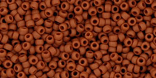Toho Seed Beads 15/0 Rounds Opaque Frosted Terra Cotta 8 gram