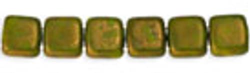Czechmates 2-hole 6mm Opaque Olive Moondust 25pcs