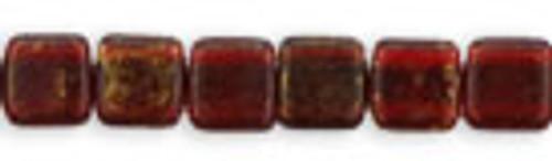 Czechmates 2-Hole 6mm Gold Marbled Ruby 50 pcs