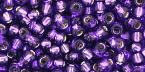 Toho Seed Beads 8/0 Rounds Silver Lined Purple 8 gram tube