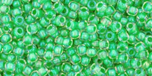 Toho Seed Bead 11/0 Round #324 In-Crystal/Spearmint Lined 20gram