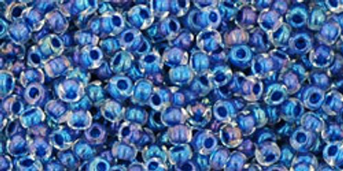 Toho Seed Bead 11/0 Round #325 Lustered Crystal/Dark Capri Lined 50g