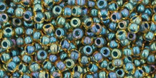 Toho Seed Bead 11/0 Round #327 In-Rainbow Topaz/Opaque Emerald Lined 20gm