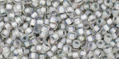 Toho Seed Bead 11/0 Round #328 In-Rainbow Crystal/Gray Lined 50gm