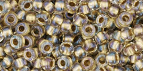 Toho Seed Beads 8/0 Rounds Inside Color Crystal Gold Lined