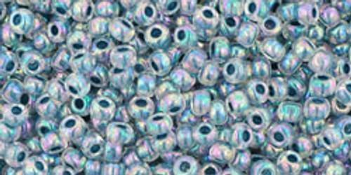 Toho Seed Bead 11/0 Round #335 In-Rainbow Crystal/Montana Blue Lined 20gr